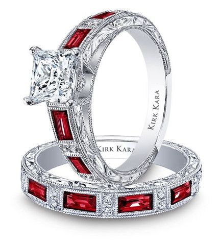 kirk kara charlotte baguette cut red ruby diamond engagement ring - Red Wedding Rings