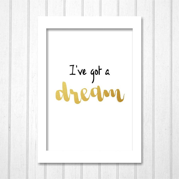 I've Got A Dream, Disney Tangled Rapunzel Quote Gold Poster, Black and White Printable Hand Drawn Typography, Nursery Room Home Decor Kids by TheDancingFingers on Etsy