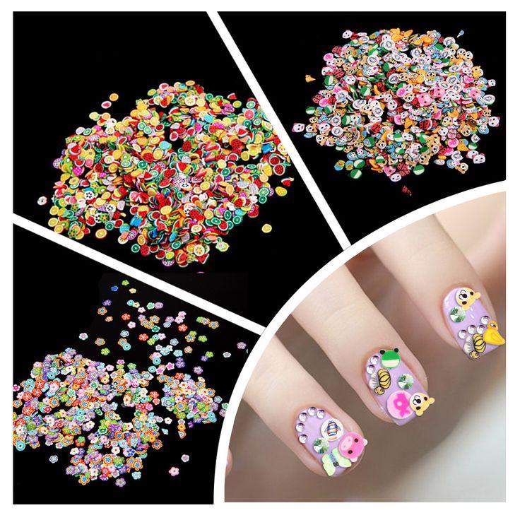 1000pcs Fimo Clay 3 Series Fruit Flowers Animals DIY 3D Nail Art Decorations Nails Art Decoration Sticker Design
