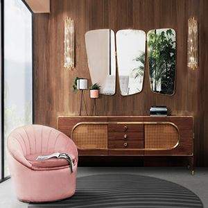 Wilde is a beautifully designed vanity wall mirror. It features three panels and an irregular shape with a golden strap of plated brass that evokes a mid-century modern style while adding a hint of refinement to any interior. It can be hanged above a sideboard or a console and still give that retro look to your bedroom or living room.  See more: https://goo.gl/MP6QqJ
