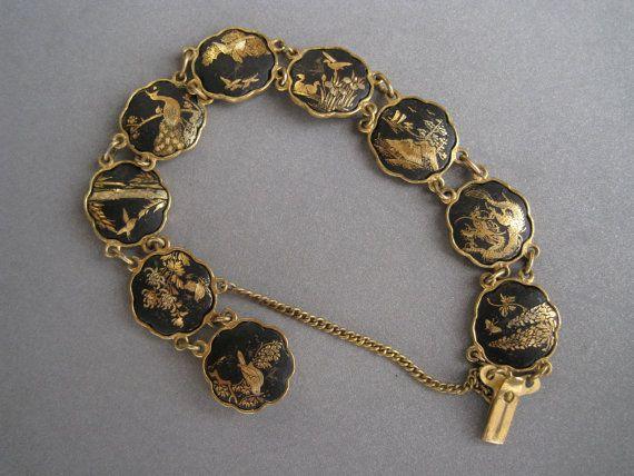 Adorable midcentury Japanese amita damascene bracelet.