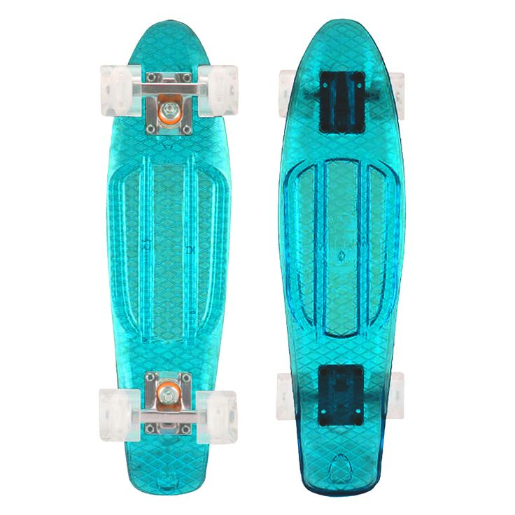 "Checkout our new 2017 Transparent Blue Mayhem Kids Skateboard for cruising or hill bombing. Deck size 22"" with white translucent 59mm wheels. Spins as quick from Abec 7 bearings. Order Today. Delivers"