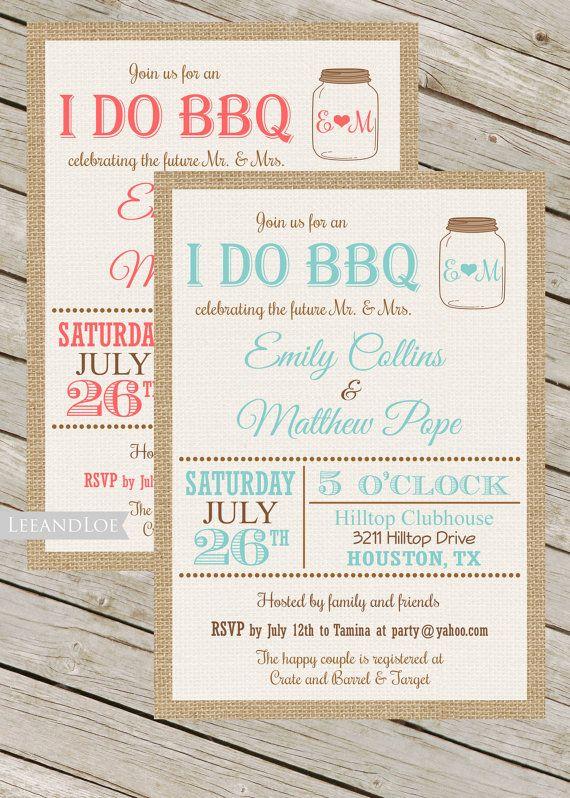 Couples or Coed Wedding Shower Printable Invitation-I Do BBQ, Burlap, Mason Jar, Rustic