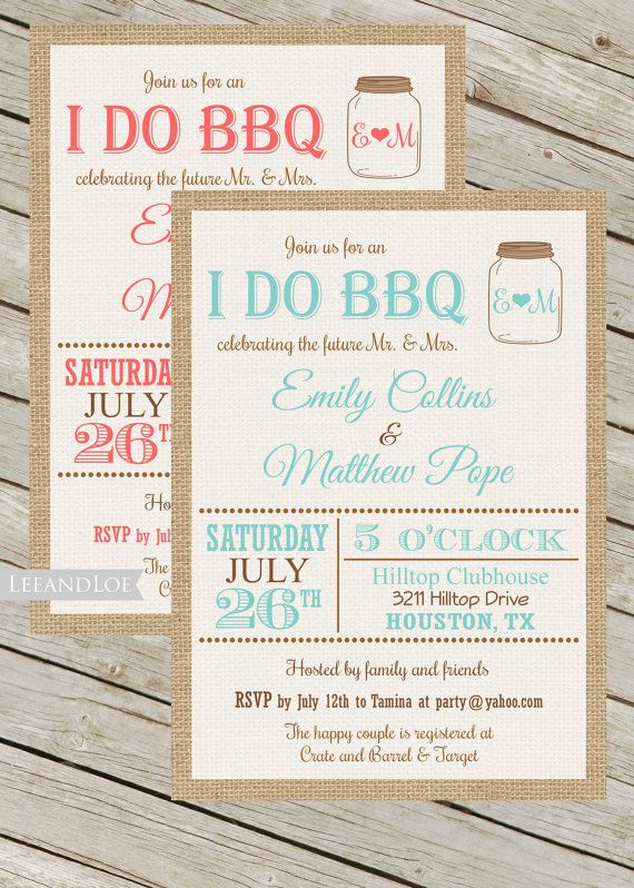 Couples or Coed Wedding Shower Printable Invitation-I Do BBQ, Burlap, Mason Jar, Rustic