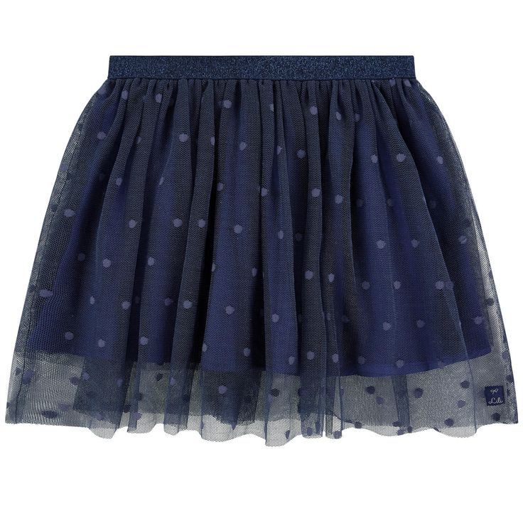 Cotton and polyester tulle Fine cotton lining Flared skirt Gathered tulle patch on the waistband Two layers for a puff effect Light and flowing cut Elastic waistband Lurex trims Small logo patch on the heels - 82,00 €