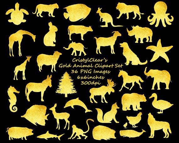 Gold Clipart Gold Clip Art Clipart Set Animal Clipart