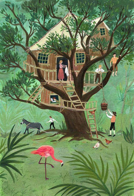 Swiss Family Robinson illustrations by Red Cap Cards artist, Becca Stadtlander