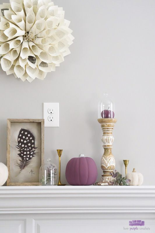Autumn Mantel with Purple and Cream