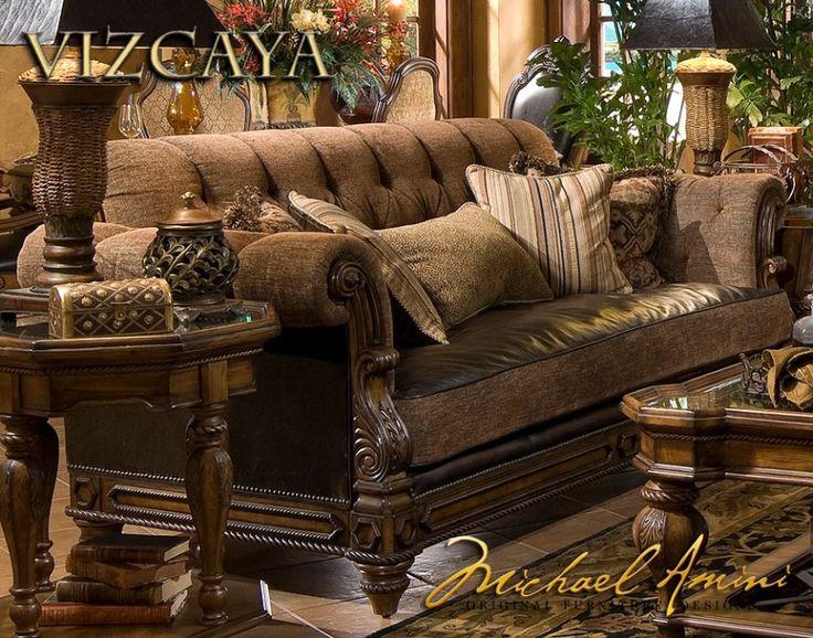 SofasSofa Groups Vizcaya LeatherFabric Armless Chaise HOME Tuscan Furniture Home