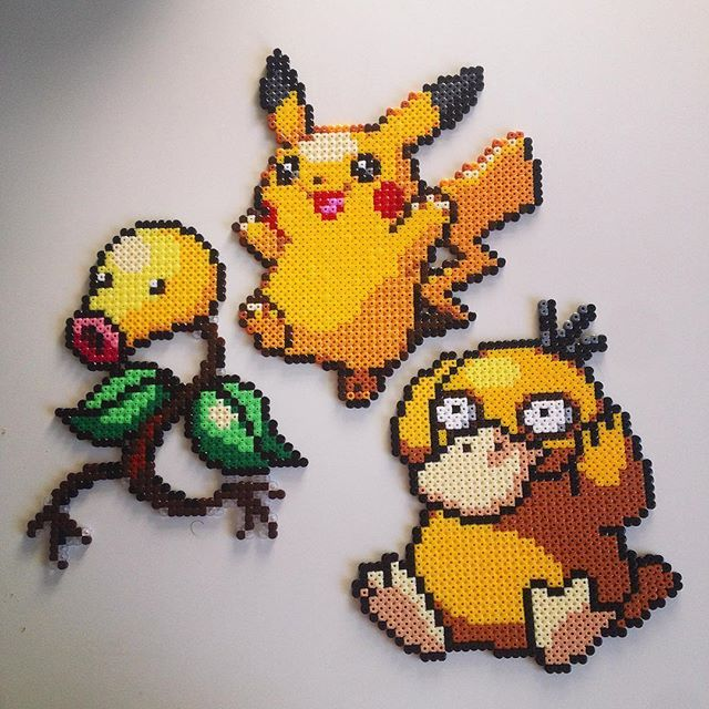 Pokemon (Bellsprout, Pikachu and Psyduck) perler beads by Victor Sundman