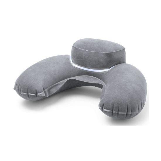 Dik reiskussentje grijs  Opblaasbaar grijs nekkussen voor in de auto trein of vliegtuig. Dit extra dikke opblaasbare nekkussen wordt geleverd in de kleur grijs. Formaat nekkussentje: ongeveer 45 x 28 cm.  EUR 3.95  Meer informatie