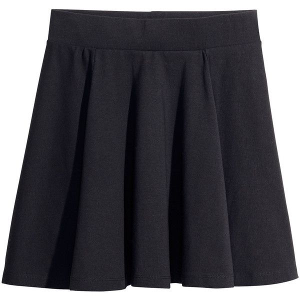H&M Bell-shaped skirt ($12) ❤ liked on Polyvore featuring skirts, bottoms, h&m, black, black skirt, black knee length skirt, h&m skirts y short skirts