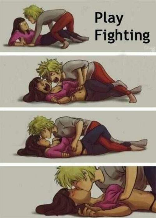 cute anime couple fight   Anime couple play fighting