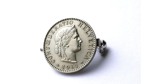 Swiss coin pin, Coin brooch, Coin jewelry, 1961, Women's accessory, Men's accessory, Clothing accessory, Pins, Brooches, Switzerland, Coins