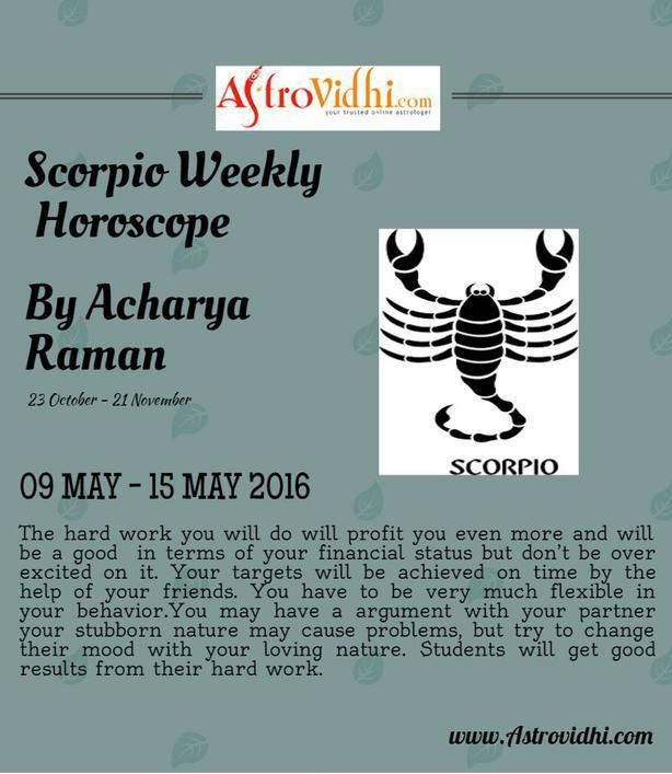 Check your Scorpio Weekly Horoscope (09/05/2016-15/05/2016).Read your weekly horoscope online Hindi/English at AstroVidhi.com.  #scorpio #weekly_horoscope