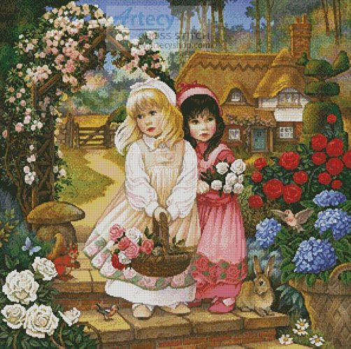 Artecy Cross Stitch. Snow White and Rose Red Cross Stitch Pattern to print online.