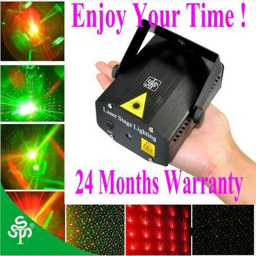 TSSS® Amazing?Mini led stage light lighting Mixed R&G Stroboflash Holographic DJ-Black,Christmas Home Dance Party Show Wedding Club Pub Bar, 2 years warranty by TSSS. $29.99. Features: Red and green lasers project animated moving stars Fully adjustable strobe motion speed Sound reactive (changes based on music) & auto rotate modes Displays various light beams and patterns Suitable for discos, clubs, karaoke rooms, bars, parties, raves, and other entertainment centers Spe...