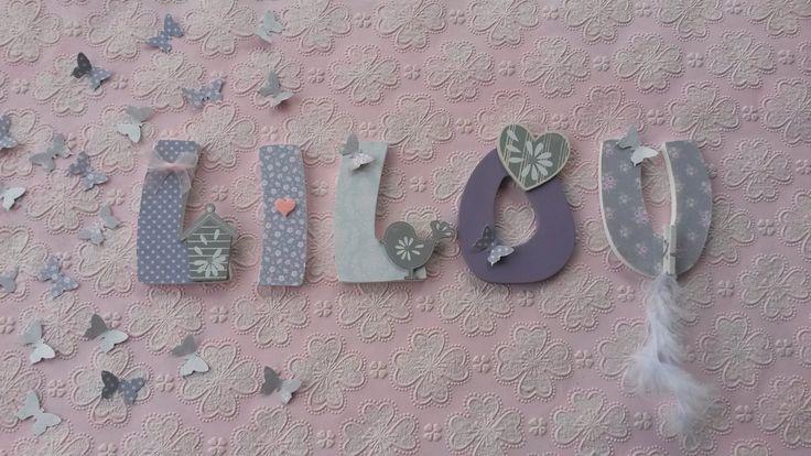 Prénom bois LILOU en lettres medium de 8cm thème Nichoir Tilda : Décoration pour enfants par joli-mai