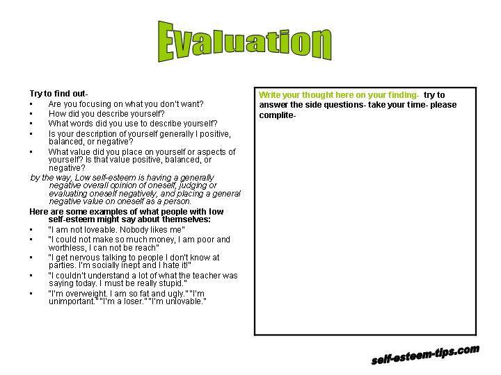Self esteem quiz for teen
