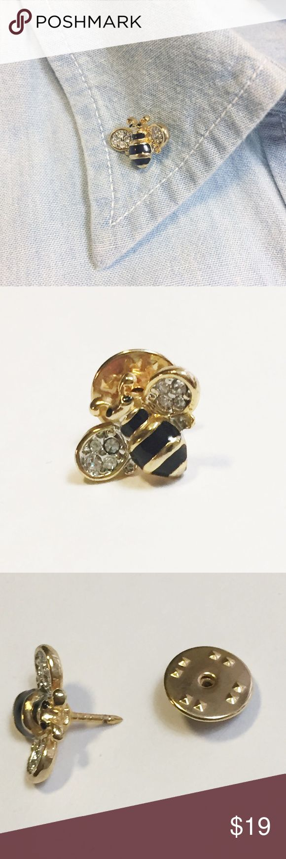 Enamel Bumble Bee Pin with Crystals Enamel Bumble Bee Pin with Crystals. Yellow and black striped body with four sparkly crystals on either wing. Gold toned. Secure back keeps your pin in place! About the size of a dime (see pictures for scale). Looks lovely on a lapel, jacket, or bag!  Excellent pre-loved condition! No flaws. 🛍15% Off Bundles of 2+ Items! Jewelry Brooches
