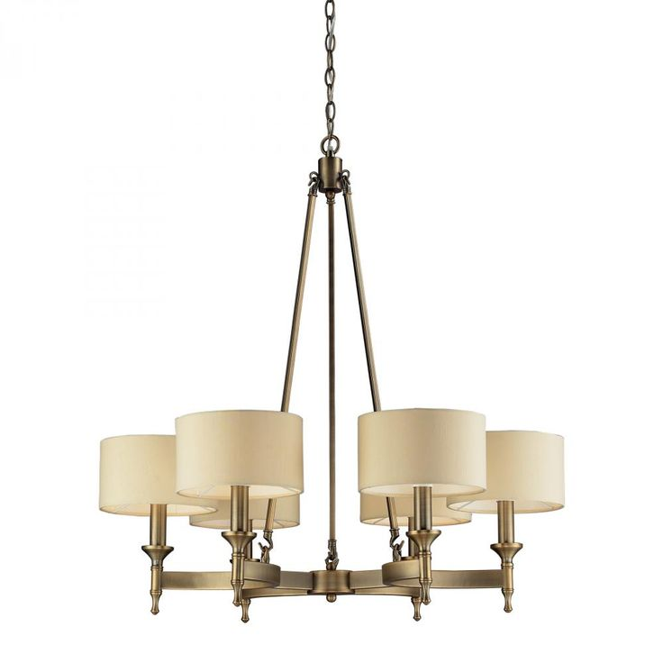 Six Light Antique Brass Drum Shade Chandelier  D569 | Gerrie Lighting Studio 31 x31   sc 1 st  Pinterest & 17 best Dining Room Lights images on Pinterest | Chandeliers ... azcodes.com