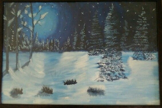 Snow#CanvasPainting#AcrylicColors
