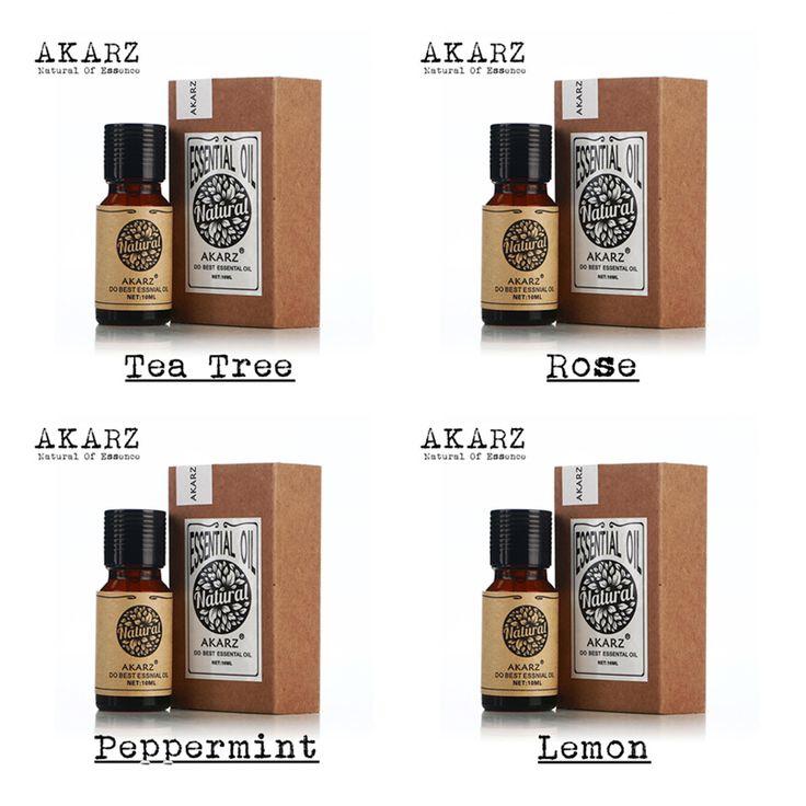 Beroemde merk akarz pure thee boom rose pepermunt lemon essentiële olie pack voor aromatherapie, Massage, Spa, bad 10 ml * 4