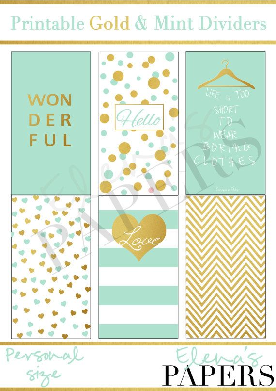 Printable Gold & Mint dividers for your personal Filofax- Kikkik planner