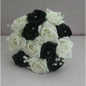Bouquet mariee rond noir blanc