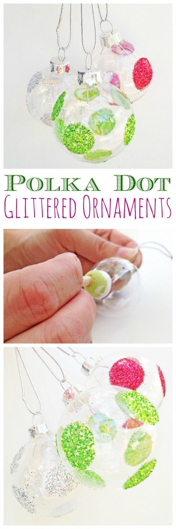 This is a super easy way to add sparkle to your tree. Try out our polka dot glittered Christmas ornaments DIY! See more party ideas and home decor ideas at CatchMyParty.com.