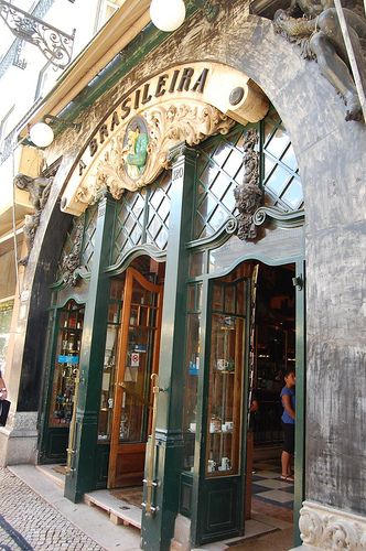 A Brasileira, Lisbon The most notable and famous café in the capital of Portugal is without question, A Brasileira. The Art Deco spot is a popular point of interest in the Chiado district of Lisbon.