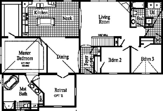 2ad1e modular homes floor plans pennwest sketch modular for Sketch plan for 2 bedroom house