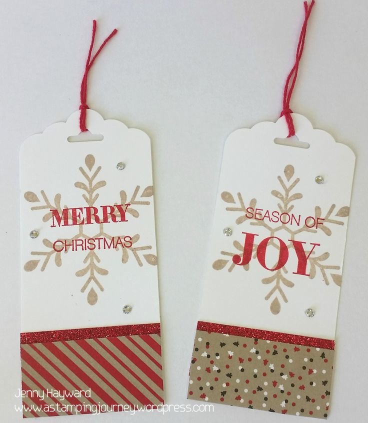 These classy Christmas tags can be made up in no time with Stampin' Up! Holly Jolly Greetings set and some scraps of Candy Cane DSP.