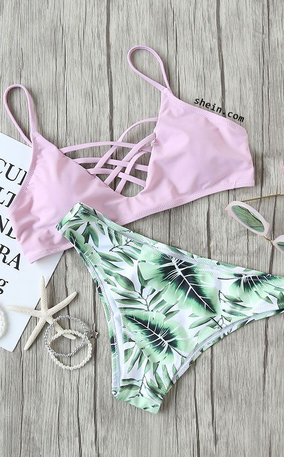 Leaf Print Criss Cross Mix & Match Bikini Set. For similar content follow me @jpsunshine10041