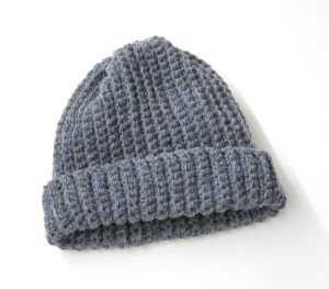 Adult's Easy Crochet Hat - Lion's Brand Yarn -- had looks fabulous in bulky white yarn, with a pom pom on top!!!