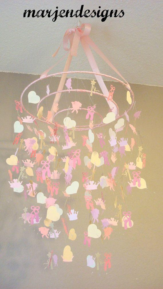 Princess mobile crown heart princess wand rose ballet for Princess crib mobile