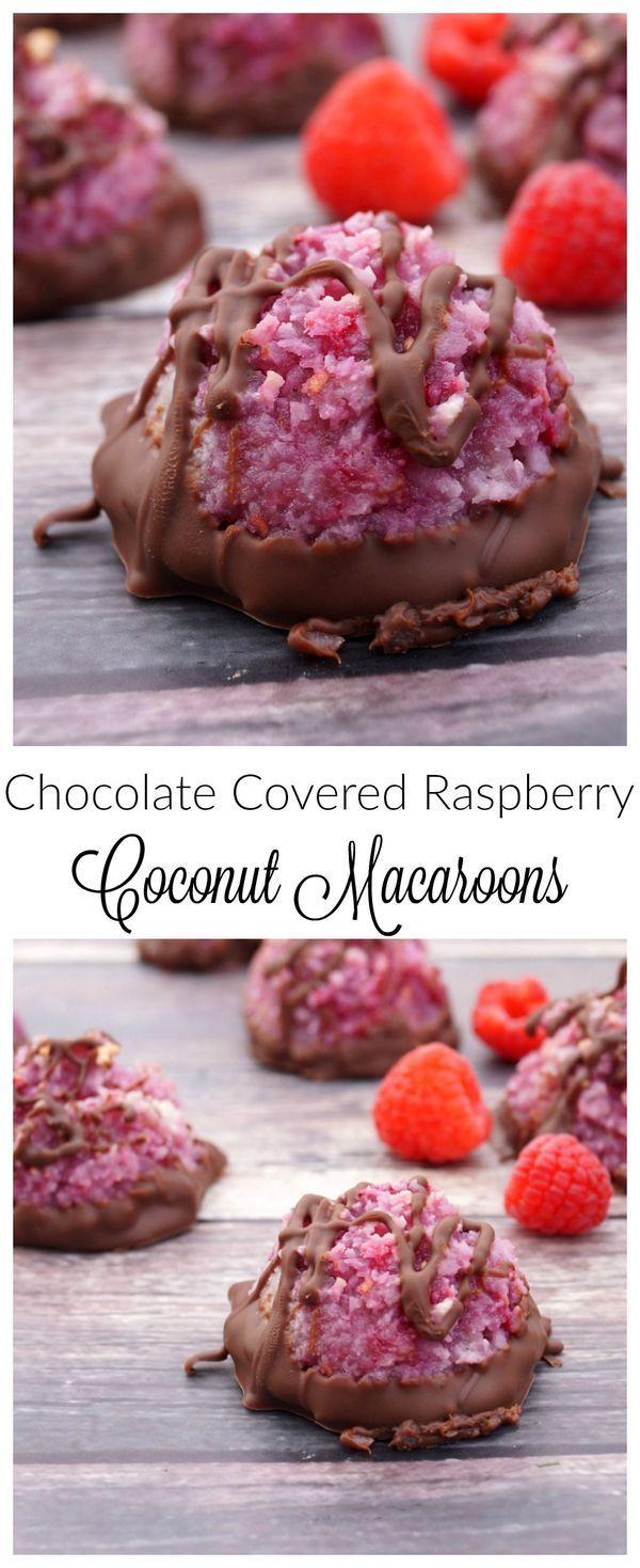 Chocolate Covered Raspberry Coconut Macaroons