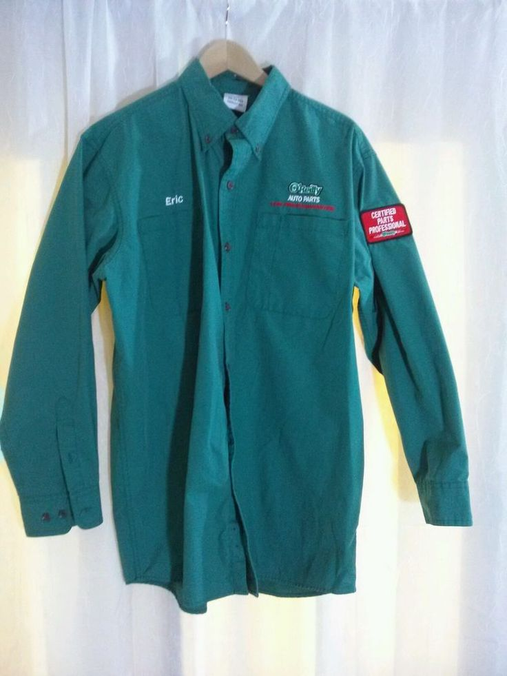 Men's O'Reilly Auto Parts Eric Button Front Work #Uniform Shirt Size L Certified #workshirt