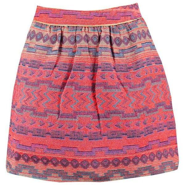 Boohoo Bea Woven Aztec Mini Skirt ($14) ❤ liked on Polyvore featuring skirts, mini skirts, red mini skirt, midi skirt, pleated skirts, short maxi skirt and short mini skirts