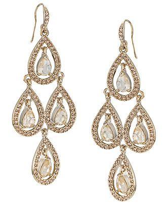 Carolee Earrings, Pear Glass Chandelier Earrings - Fashion Jewelry - Jewelry & Watches - Macy's