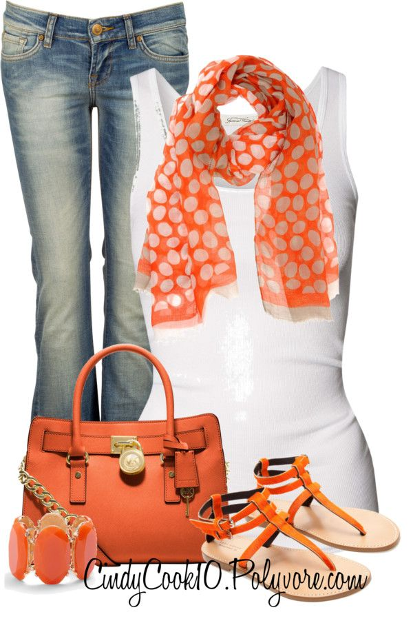 cute pop of orange dresses up the comfy jeans and white tee look