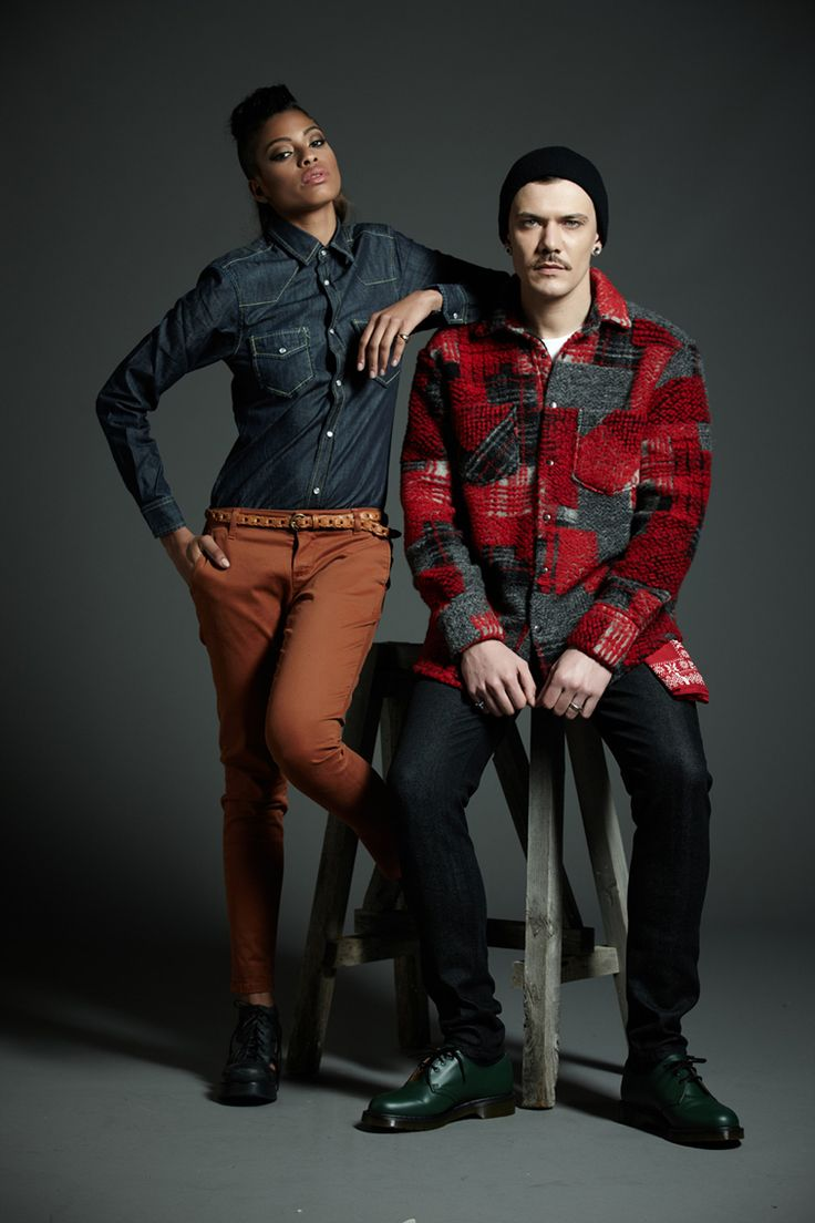 #Derriere fall/winter 2014 #dderriere #jeans her: #Chino #Gabardine #Whiskey / #Shirt #Denim #RawWash him: #Wool #Jacket #Art #Beo #Red / #EasyFit #DenimBlack #MarbleWash