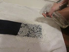 using bleach and templates to decorate old jeans etc. with lace, patterns, etc.