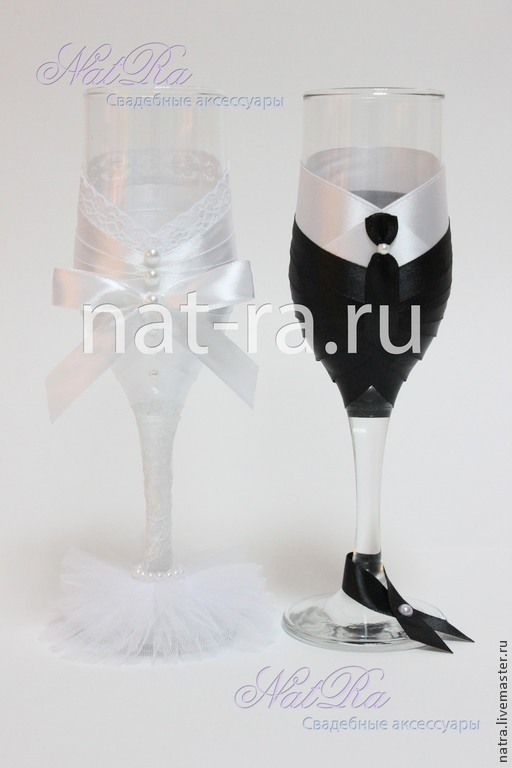 """Купить Свадебные бокалы """"Молодожены"""" - белый, черный, бокалы для свадьбы, бокалы для молодоженов, Бокалы"""