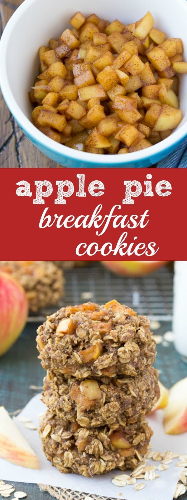 We love these Apple Pie Breakfast Cookies for quick breakfasts and snacks! Make a batch and store them in your freezer for busy days! | http://www.kristineskitchenblog.com