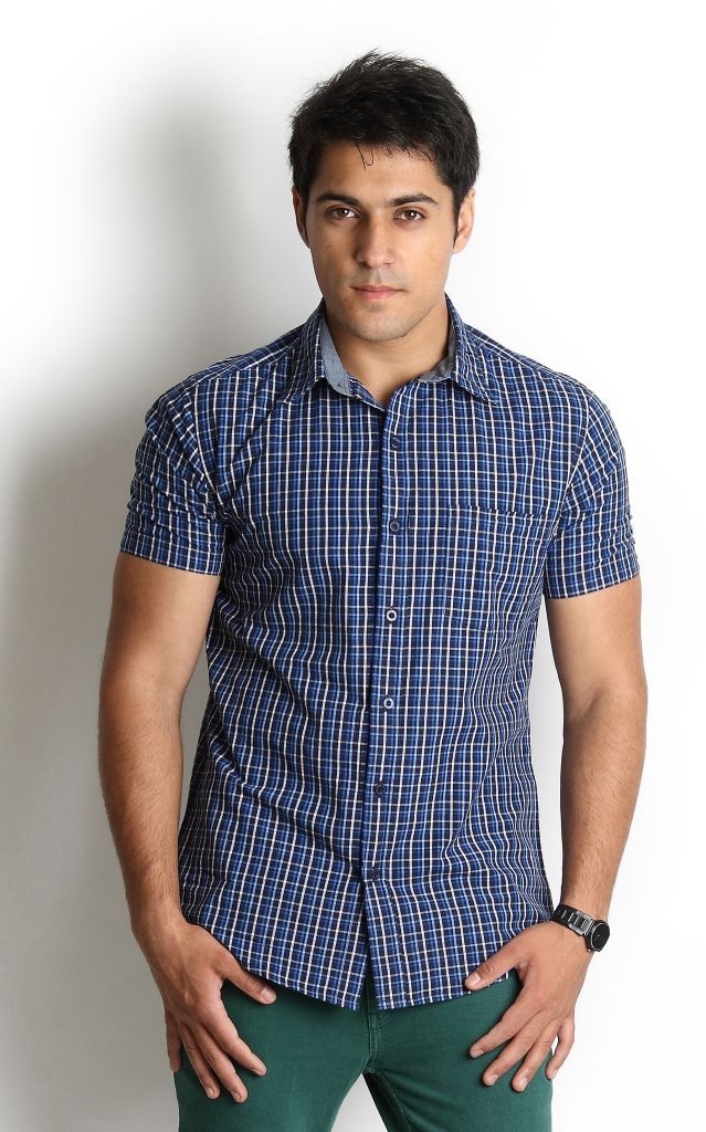 Navy Shirt With Small Checks Pattern. If this is your favorite Globus Outfit repin it and create a board 'My Favorite Globus Outfit' and tell us why you love Globus to stand a chance to win. Do send us a link in the comment box or tweet to us using #MyFavoriteGlobusOutfit to @StyleWithGlobus.
