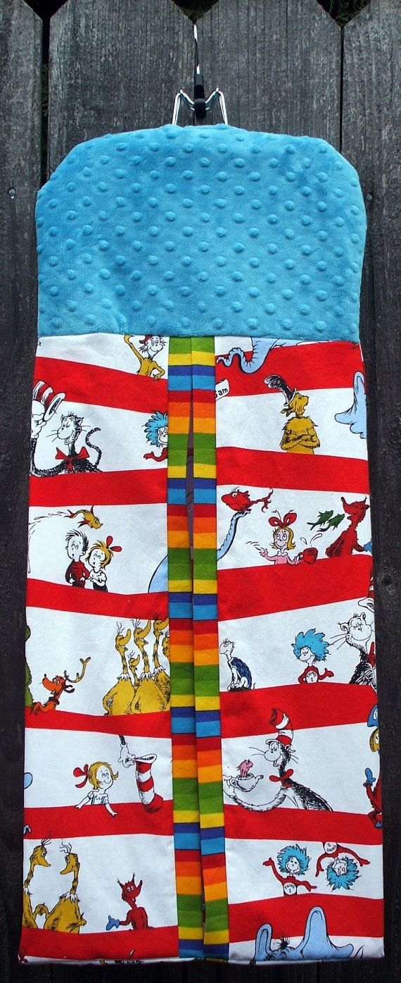 Pottery barn dr seuss shower curtain - Diaper Stacker Dr Seuss Cotton With Blue By Kreationsbykona 44 99
