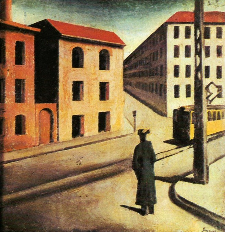 Urban landscape by Mario Siron, Italian (12 May 1885 - 13 August 1961);  Art Movement:  	Futurism, Metaphysical art: Novecento Italiano, Milan Futurist Group http://www.wikipaintings.org/en/mario-sironi