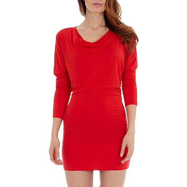 Dinamit's Women Batwing Knit Long Sleeve Casual Tunic Dress ($9.99) via Polyvore featuring dresses, long sleeve knit dress, red knit dress, long sleeve day dresses, red dress and long sleeve batwing dress