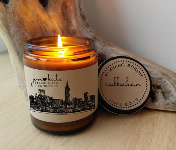 Unique Engagement Gift Custom Candle New York Skyline ANY CITY AVAILABLE Newly Engaged Gift Valentine Gift For Couple Engagement Present